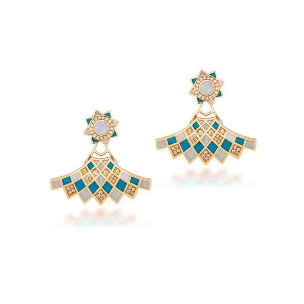 GEOMATRICA BACK TO THE FRONT EARRINGS IN TURQUOISE