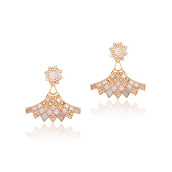 GEOMATRICA BACK TO THE FRONT EARRINGS IN MOTHER OF PEARL