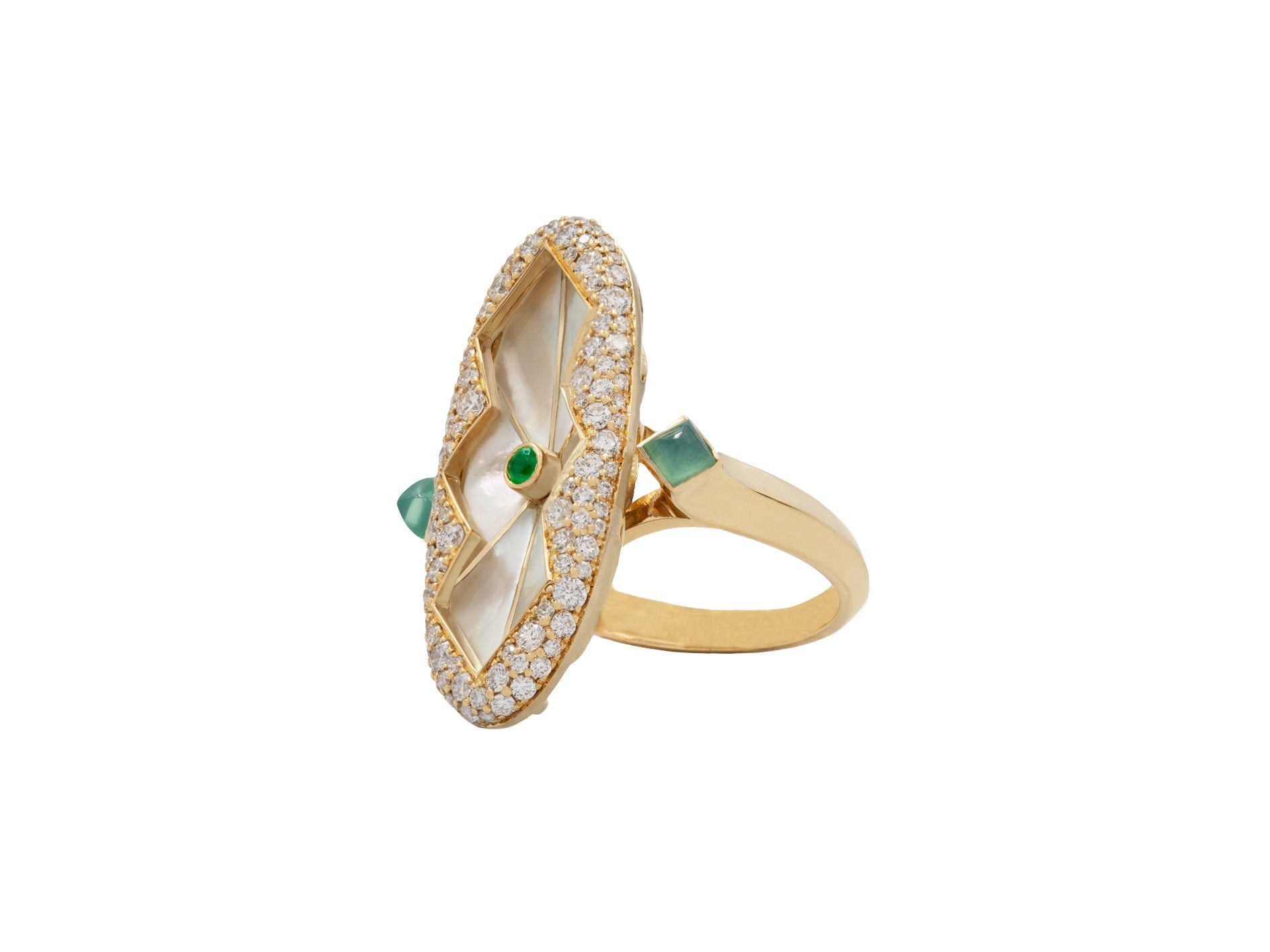 ROSE RING IN YELLOW GOLD AND EMERALD